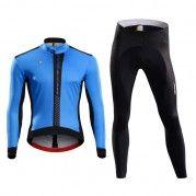 2015 Mens Winter Blue Cycling Jacket Bike Tights Set Winter Blue 9d2bc810d