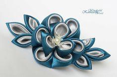 Turquoise and Gray Kanzashi Flower Hair Clip by wonderfulkanzashi, $15.00