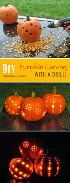 Original Haloween decoration .... pumpkin carving with a drill!!!