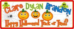 """Fun Happy Halloween Personalized Sign with Pumpkins, Ghosts & Spider Web. No one can resist the colorful charms of this Happy Halloween sign! Your custom names appear above the famous words """"Happy Halloween!"""" followed by """"Trick or Treat?"""". A trio of happy orange pumpkins grin from the center while a pair of green ghosts haunt the upper corners. A black spider web adorns the left side. This fun Halloween decoration is also a great choice when searching for autumn kids room décor! Along with…"""