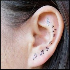 32 music note tattoos to inspire. Make sweet music with these music note tattoo body art designs. A musical note tattoo will perfect your style. Mini Tattoos, Trendy Tattoos, Body Art Tattoos, Small Tattoos, Ear Tattoos, Tatoos, Stylish Tattoo, Music Tattoo Designs, Temporary Tattoo Designs