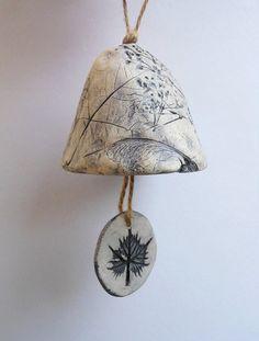 Ceramic Bell With Leaf Design (No. via Etsy. Pottery Pots, Ceramic Pottery, Pottery Classes, Pottery Designs, Clay Art, Clay Clay, Pottery Studio, Ceramic Clay, Cold Porcelain
