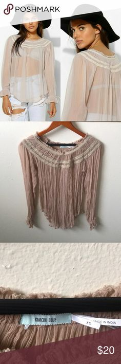 Kimchi Blue Festival Peasant Top Size Small Pre-Owned  Size XS Tan Color Extremely Sheer Fabrication Tag Removed Kimchi Blue Tops Blouses