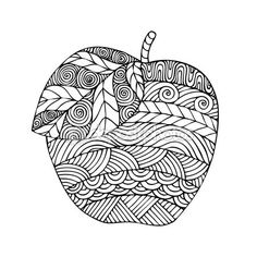 Adult coloring book page design with the image of an apple. Coloring book page for adult. Vector illustration in the style of zentangle, doodle, ethnic, tribal design. - buy this vector on Shutterstock & find other images. Apple Coloring Pages, Adult Coloring Book Pages, Colouring Pages, Coloring Sheets, Coloring Books, Doodle Art Designs, Autumn Art, Zentangle Patterns, Zentangles