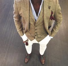 Blazer, vest, button up, white pants, pocket square and loafers