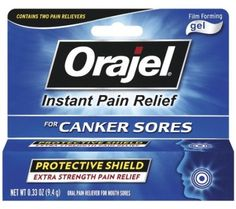 Orajel Ultra Mouth Sore Medicine Film Forming Gel - 94 gm.  Fast canker sore relief plus long lasting protection. Two powerful pain relievers. Patented coating forms a shield. Orajel film-forming canker sore gel provides instant and effective relief from canker sore pain. The unique orajel formula contains two powerful pain relievers in a patented, film-forming gel that protects and shields sores inside the mouth for hours.