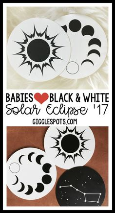 Babies will have a solar eclipse of the heart this summer! Entertain your baby's brain with these space themed, stimulating black and white images! Make changing time easier and car rides a breeze!