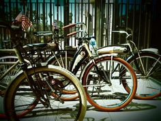 Memorial Day vintage bikes parked at Congregation Ale House, Long Beach CA.