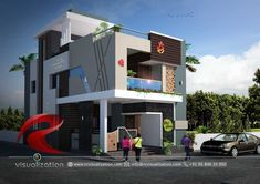 Rc Visualization is a growing Plan & Elevation Designing company. We are expert in architectural Planning, Elevation Designs, interior designs and realistic renderings. House Architecture Styles, Architecture Company, Architecture Plan, Modern Exterior House Designs, Unique House Design, House Front Design, Morden House, Indian House Plans, Duplex House Plans