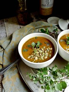 Pumpkin Black Bean Soup -- just made this, very yummy! My only critique is it doesn't need a full tablespoon of salt, can easily cut that in half :) Cozy fall flavor!