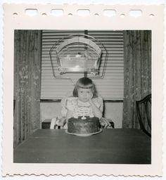 GIRL SAD ON BIRTHDAY, CAKE PET BIRD CAGE DRESS FASHION VINTAGE SNAPSHOT PHOTO