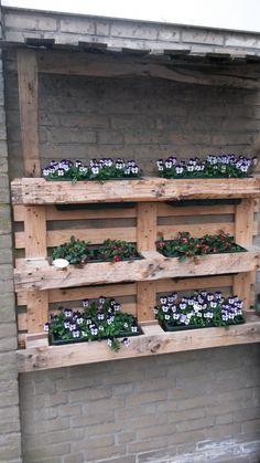 Pflanzgefäße von Palette :-) - Kirsten Put - Diy Wooden Planters, Diy Planters, Garden In The Woods, Home And Garden, Shed Makeover, Flower Tower, Recycled Garden, Pallets Garden, Balcony Garden