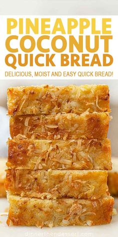 is an easy quick bread that's rich and moist with the flavors of the tropics that's perfect for dessert or breakfast! Coconut Bread is an easy quick bread that's rich and moist with the flavors of the tropics that's perfect for dessert or breakfast! Pineapple Coconut Bread, Coconut Quick Bread, Quick Bread Recipes, Sweet Recipes, Cooking Recipes, Coconut Bread Recipe, Recipe For Sweet Breads, Pina Colada Bread Recipe, Hawaiian Banana Bread Recipe
