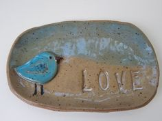 Whimsical Bird Soap Dish or Spoon rest LOVE by ShoeHouseStudio, $15.00