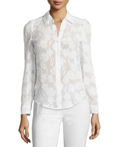 Button-Front+Daisy+Burnout+Top,+Snow+by+Rebecca+Taylor+at+Neiman+Marcus.
