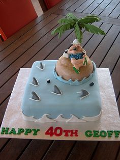 sharks - I want a cake like this for my 40th since I am trying to have my goal to be a great white cage dive for my 40th. :)