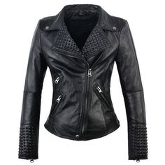 Handmade Women's SteamPunk Black Studded Leather Jacket Classic Vintage style #Handmade #StuddedStyle