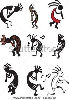 Kokopelli designs- one of my paternal grandmother's favorite symbols Native American Symbols, Native American Design, Arte Tribal, Tribal Art, Celtic Tatoo, Indian Symbols, Gourd Art, Aboriginal Art, Native Art