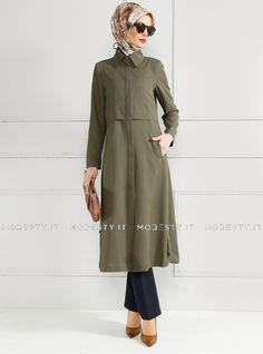 islamische kleidung fuer frauen mymodestystyle.com besuchen sie unsere shop #hijab #abayas #tuekische kleider #abendleider #islamischekleidung  Hidden Button Topcoat - Khaki - Refka - <p>Fabric Info:</p> <p>100% Polyester</p> <br> <p>Unlined</p> <p>Weight: 0.566 kg</p> <p>Measures of 38 size:</p> <p>Height: 123 cm</p> <p>Bust: 92 cm</p> <p>Waist: 84 cm</p> <p>Hips: 98 cm</p> - SKU: 185234. Buy now at http://muslimas-shop.com/hidden-button-topcoat-khaki-refka.html