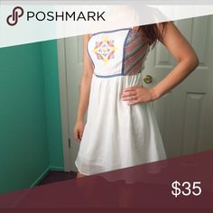 White Embroidered Dress Amazing embroidery on the top front of the dress. Adjustable straps and lining throughout. The top is super stretchy. I'm 5'3 and it comes to my knee. Feel free to make an offer via offer button only.   •No Trades•  Interested in free shipping? Visit my Instagram for more info: @jacklagposh Boutique Dresses Midi
