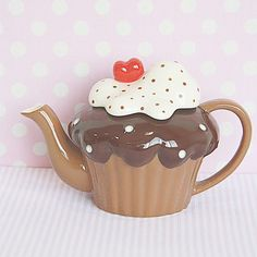 Chocolate Fudge and Creamy with Cherry Topping on Brownie Cupcake Teapot