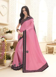 Indian ethnic wear online shopping site. Buy wedding designer sarees. Shop this floral chiffon satin designer saree for festival and party.