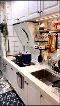 Simple Kitchen Storage Design Ideas That You Want To Try 38 Home Decor Kitchen, Diy Kitchen, Kitchen Furniture, Kitchen Interior, Kitchen Design, Kitchen Appliance Storage, Kitchen Storage Solutions, Wall Mounted Dish Rack, Dish Organization