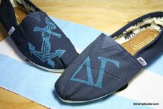 TOMS Delta Gamma Anchor Shoes  The anchor and Greek letters of Delta Gamma sorority on TOMS. You choose the color combination.    Women Colors: red, black, navy, grey, olive, brown, natural (may take 4-6 weeks)  Men's: Navy, Grey, Black  Youth Colors: Grey, red    $73.00