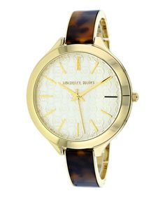 6e895e204db8 Look at this Michael Kors Gold   Brown Slim Runway Bracelet Watch on today!