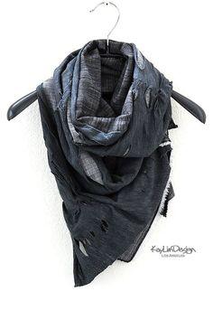 Unisex tattered scarf denim scarf cowl scarf  KA167 by KayLim, $50.00