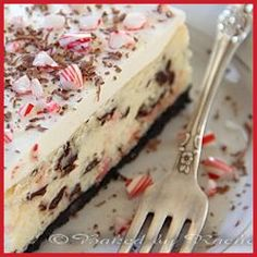 White Chocolate Peppermint Bark Cheesecake  YUM!!