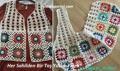 Renkli ve her yaş için yapabileceğiniz her sahilden bir taş yazlık yelek mo… Colorful and detailed for each age you can do a stone summer vest model from every beach. Granny Square Häkelanleitung, Granny Square Crochet Pattern, Crochet Squares, Crochet Stitches, Crochet Woman, Diy Crochet, Crochet Baby, Black Crochet Dress, Crochet Cardigan