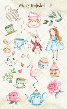Alice In Wonderland Clipart, Alice In Wonderland Drawings, Alice In Wonderland Tea Party, Alice Tea Party, Baby Illustration, Baby Mobile, 1 Rose, Cat Face, Nursery Art