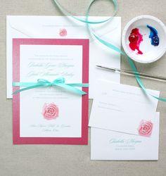 Custom watercolor floral wedding invitations by artist Michelle Mospens. 100% original rose art. | Mospens Studio
