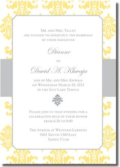 Beautiful Damas www.beautifulweddingannouncements.com Affordable Wedding Invitations, Beautiful Wedding Invitations, Elegant Invitations, Salt Lake Temple, Wedding Announcements, Save The Date, Thank You Cards, Christmas Cards, Marriage