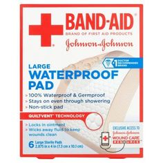 Band-Aid Brand of First Aid Products Waterproof Pads, 2.9 by 4 Inches, 6 Count, Multicolor