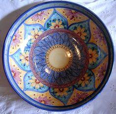 Ciotola/ Insalatiera / Spaghettiera in ceramica.Dipinta a mano.Decoro Geo/Floris, by ilciliegio, 16,00 € su misshobby.com