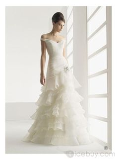 Gorgeous A-Line Off the shoulder Sleeveless Organza Floor-length Sweep Train Hot Sell Wedding Dress WD-0063