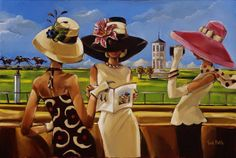 Trish Biddle* is an American artist*, known for portraying glamorous lady in fabulous places. Biddle was born in Minnesota. For biographical notes -in english and italian- and other works by Biddle see: Trish Biddle Kentucky Derby Fashion, Kentucky Derby Hats, Illustrations Vintage, Illustration Art, Fashion Illustrations, African American Art, American Artists, American Women, Art Deco
