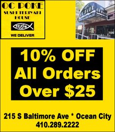 OC Poke Sushi & Teriyaki House located at 215 S Baltimore Ave at Dorchester St in Downtown Ocean City MD. Poke Sushi, Ocean City Md, Social Media Site, Maryland, Coupons, Cool Stuff, Coupon