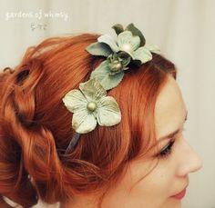 Mermaid headband, bridal flower crown, hydrangea head piece, wedding hair accessory - Watercolor dreams. $40.00, via Etsy.