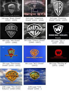 The Warner Bros. Studios logo over the years. It was an entertainment company. The company has greatly extended  since its creation in the early 1900s. They produced many early silent films and continue to be a dominating force in the film industry even today. Warner Brothers Logo, Warner Bros, Wb Logo, Jack Warner, Studio Logo, Logo Branding, Logo Design, Brand Design, Examples Of Logos