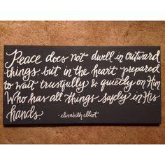 Elisabeth Elliot quote 12x24 Canvas // peace handlettering