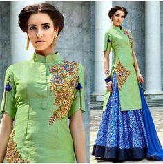 Designer Green & Blue Lehenga