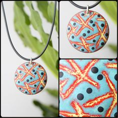 Abstract Blue Enameled Necklace from Angela Gerhard Jewelry for on Square Market