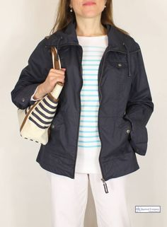 Nice little navy blue short jacket for the summer with Breton top #nautical #fashion #stripe