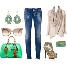 Distressed Denim & Green, created by pat-prentice on Polyvore