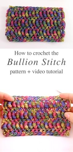 crochet stitches patterns Today you will learn the bullion stitch crochet, a fancy and very popular stitch. The bullion stitch is a design that I recommend learning how to cro Crochet Stitches Patterns, Knitting Stitches, Crochet Designs, Stitch Patterns, Knitting Patterns, Crochet Hooks, Free Crochet, Knit Crochet, Crochet Crafts