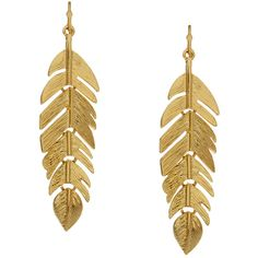 Kenneth Jay Lane Gold Leaf Drop Earring (43 CAD) ❤ liked on Polyvore featuring jewelry, earrings, accessories, gold, brincos, gold drop earrings, gold earrings, gold earrings jewelry, leaf earrings and kenneth jay lane