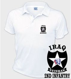 US Army 2nd Infantry Division Iraq Veteran Performance Polo Shirt These good looking polo's will keep you cool as they are performance wicking, stain-resistant & offer UV Protection. The Imagery will last a lifetime as it will never unravel, crack or peel. Designed, Printed & Sublimated in the USA -Fabric Imported.